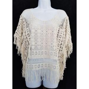 Zara Woman Boho Crochet Fringe Festival Top Medium